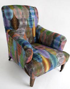 Furniture makeover:  Armchair redone with Pangolin original velvet upholstery timorousbeasties.com