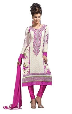 Picture of Charming Cream Color Designer Churidar Kameez