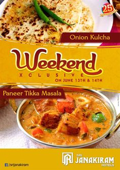 Check-in now for a #Delicious #Weekend_Special Menu from June 13th to 14th at #Srijanakiram_Hotels * ONION KULCHA * PANEER TIKKA MASALA #breakfast #fun #joy #holiday #weekendspecial #menu