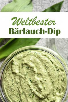 World& best wild garlic dip. - This wild garlic dip creates addiction – you want to spoon the glass empty. Perfect for brunch, a - Easy Cookie Recipes, Healthy Soup Recipes, Brunch Recipes, Whole Food Recipes, Vegan Recipes, Dinner Recipes, Garlic Dip, Wild Garlic, Vegan Thermomix