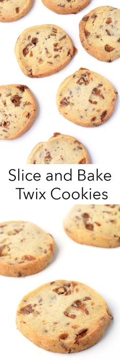 Buttery Twix Slice And Bake Cookies made with just 5 ingredients! These egg-free shortbread cookies come together in just 15 minutes and can be baked at any time of the day or night! Recipe from sweetestmenu.com #cookies #Twix #dessert