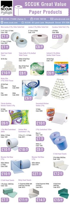 Check out these SCCUK great value paper products.  SCCUK stock a wide range of Janitorial, Hygiene, Health care and Catering supplies at competitive prices. FREE delivery in the local area.  You don't need a membership card to shop at SCCUK. It's open to the general public. Loads of free parking or use our phone order and quick collect service.  Pop along to the showroom - 83 Lynch Lane, Weymouth, Dorset DT4 9DN or telephone: 01305 774488 (Opt 5).