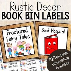 off for the first 48 hours! This beautiful set of 424 Rustic or Camping Theme Book Bin Labels and Matching Individual Book Labels will keep your shelves of book organized! Whether you organize your classroom library by theme, genre, or Classroom Library Labels, 5th Grade Classroom, Classroom Themes, Book Bin Labels, Book Bins, Book Hospital, Wordless Book, Library Organization, Magic School Bus