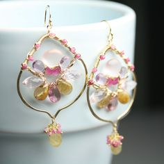 Gem Weave Arabesque Earrings in Pink Topaz Gold Rutile and Rose Quartz Statement Jewelry. $298.00, via Etsy.