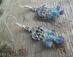 Fluorite and antique silver earrings Gradient color by Unics, $23.00