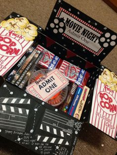 Candy. Movies. Popcorn. movie.   Gift card.