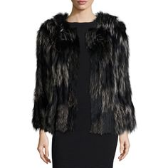 Diane Von Furstenberg Two-Tone Fox Fur Coat ($644) ❤ liked on Polyvore featuring outerwear, coats, fox fur coat, fox coat, fur-lined coats, leather-sleeve coats and oversized coat
