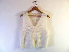 Vintage woven white sweater vest // open by dirtybirdiesvintage, $26.00