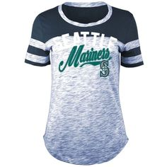5th & Ocean Women's Seattle Mariners Space Dye Cb Yoke T-Shirt ($36) ❤ liked on Polyvore featuring tops, t-shirts, navy, navy stripe t shirt, scoop neck tee, striped tee, short sleeve tee and long t shirts