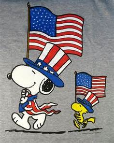 Snoopy and Woodstock Marching in 4th of July Parade