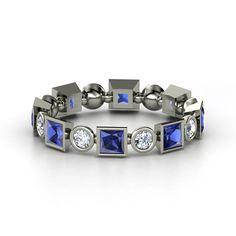 Palladium Ring with Blue Sapphire & Diamond    Geometric Band   Gemvara