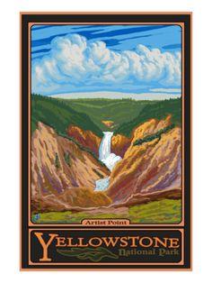 Artist Point, Yellowstone National Park, Wyoming Premium Poster