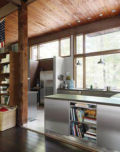 Dwell - Modern Sustainable Kitchen Renovation in Pennsylvania Modern Kitchen Renovation, Kitchen Remodel, Freundlich, Bungalows, Wood Cabinets, Interior Lighting, Kitchen Furniture, Kitchen Walls, Decoration