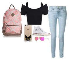 """""""first day of school"""" by katek1024 on Polyvore featuring Frame Denim, Converse, Ray-Ban and Casetify"""