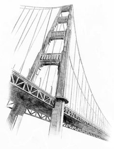 San Fancisco Architecture : An unusual view of the Golden Gate Bridge, San Franc… San Fancisco Architecture : An unusual view of the Golden Gate Bridge, San Francisco. Architecture Concept Drawings, Ancient Architecture, Bridge Drawing, Nyc Drawing, Golden Gate Bridge Painting, San Francisco Bridge, Bridge Tattoo, Sketch Painting, Urban Sketching