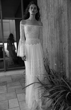 Bell sleeves full lace wedding dress by FLORA Identity collection - Simone dress off the shoulder embellished boho chic lace, romantic sheath gown boho chic | flora bridal | white dress | wedding | vintage | classy