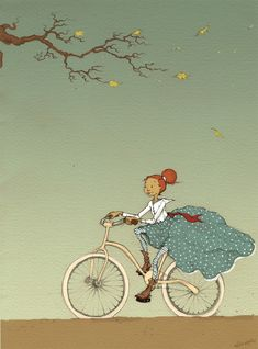sunsetsbox:  Bicycle Girl by Aileen Leijten