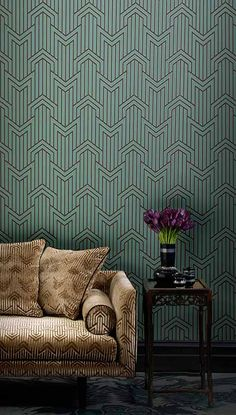 photo of Limelight Wallpaper Peacock 403 in situ Painted Feature Wall, Feature Walls, Wall Paint Colors, Room Goals, My Living Room, Wall Wallpaper, Retro, Family Room, Upholstery