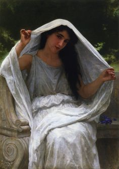 William-Adolphe Bouguereau The Veil, oil on canvas, x 80 cm, private collection. William-Adolphe Bouguereau was a French academic painter, a traditionalist whose realistic genre paintings. William Adolphe Bouguereau, John William Waterhouse, Munier, Pierre Auguste Renoir, Edouard Manet, Foto Art, Oil Painting Reproductions, Classical Art, Classical Realism