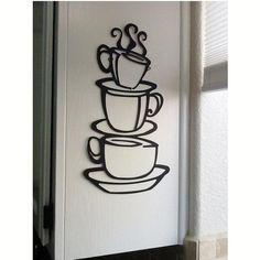 Pegatinas de tazas de café para la cocina - http://vinilos.info/producto/pegatinas-de-tazas-de-cafe-para-la-cocina/ Características del vinilo decorativo para la cocina económico:  Material: PVC Colornegro   El agua, protector solar, no se desvanecen, no tieneolor Se pega en cualquier superficie plana, muebles, frigorífico, pared, azulejos.    #decoracion