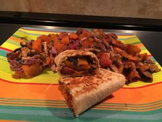 Veggie packed burrito 430 cal 20g of protein huge portion.