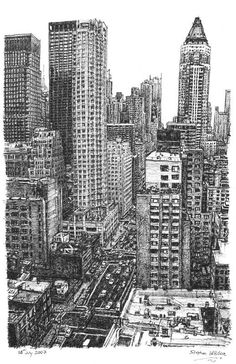 New York Street Scene by Stephen Wiltshire.     He is an incredible artist who can do detailed sketches from memory. I would love to own any of his pieces.: