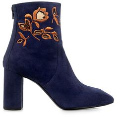 Eugenia Kim - Zooey Floral Embroidered Suede Ankle Boots (€575) ❤ liked on Polyvore featuring shoes, boots, ankle booties, botas, footwear, heels, navy booties, suede ankle boots, suede boots and suede ankle booties