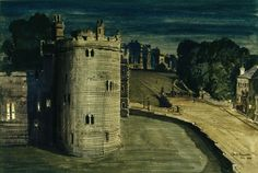 Salisbury Tower, Windsor Castle, night by Claude Grahame Muncaster, 1946. This watercolour of the thirteenth-century Salisbury Tower, in the south-western corner of the Lower Ward of Windsor Castle, was commissioned by Queen Elizabeth shortly after the end of World War II. The topographical artist Claude Muncaster was asked to provide accurate records of the Castle buildings, a project which was initially conceived as a response to the threat of aerial attack during the war. Royal Residence, Queen Mother, Windsor Castle, Salisbury, British Royals, Queen Elizabeth, World War Ii, Watercolour, Buildings