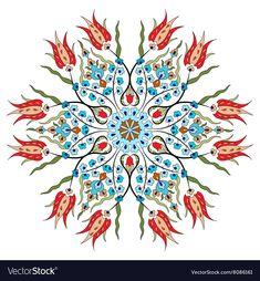 Vast Ottoman Design Vector – Ottoman On Pin Islamic Motifs, Islamic Patterns, Tile Patterns, Islamic Art, Pattern Art, Pattern Design, Turkish Tiles, Turkish Art, Logos Retro