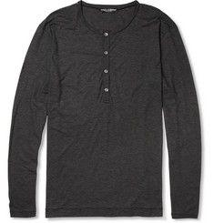 Dolce & GabbanaLong-Sleeved Cotton Henley T-Shirt