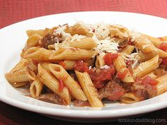 Pasta and Rustic Slow-Simmered Tomato Sauce with Meat {Cookbook of the Month Recipe} - Taste and Tell