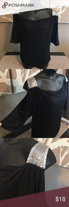 ⚜️Black Blouse⚜️ Black cold shoulder blouse with silver sequins on the shoulders. Never Worn Haute Apparel Tops Blouses