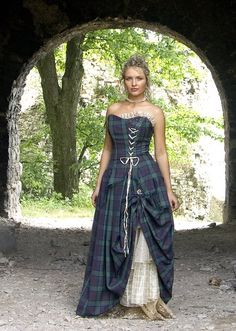 tartan dress with lace up front--not sure I like the off center laces...