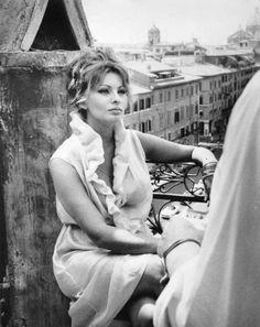 """gatabella: """"Sophia Loren on the set of Yesterday, Today and Tomorrow, 1963 """""""