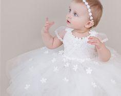 Niña bautizo vestido vestido de bautizo por JasmineAndPoppy en Etsy