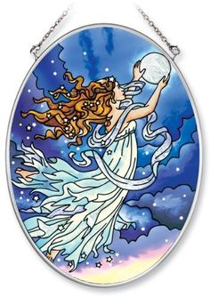 Amia Hand Painted Glass Suncatcher with Moon Fairy Design, 5-1/4-Inch by 7-Inch Oval by Amia. $19.00. Comes boxed, makes for a great gift. Handpainted glass. Includes chain. Amia glass is a top selling line of handpainted glass decor. Known for tying in rich colors and excellent designs, Amia has a full line of handpainted glass pieces to satisfy your decor needs. Items in the line range from suncatchers, window decor panels, vases, votives and much more.