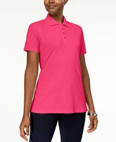Karen Scott Short-Sleeve Polo Top In Regular & Petite Sizes, Created for Macy's - Purple P/XL