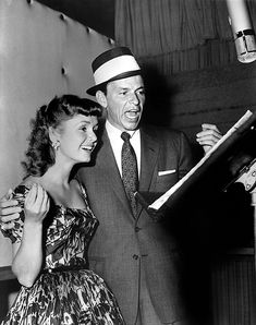 Frank Sinatra and Debbie Reynolds recording for The Tender Trap (1955)