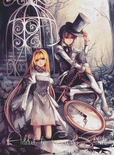 Alice and Hatter in Wonderland Anime cross stitch pattern