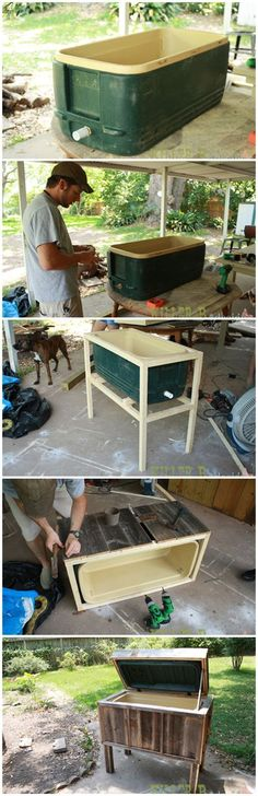 Woodworking® - Woodworking Plans & Projects With Videos - Custom Carpentry — TedsWoodworking Make an outdoor ice chest with a ReStore cooler!Make an outdoor ice chest with a ReStore cooler! Backyard Projects, Outdoor Projects, Pallet Projects, Home Projects, Simple Projects, Do It Yourself Camping, Teds Woodworking, Woodworking Projects, Woodworking On A Budget