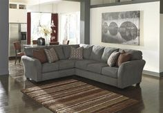 Doralin Contemporary Steel Fabric Sectional w/RAF Sofa