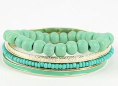 Mint and gold bangles Mint Color, Mint Green, Turquoise Jewelry, Turquoise Bracelet, Bracelet Set, Bangle Set, Tiffany Blue, Gold Bangles, How To Make Beads