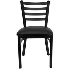 Flash Furniture XU-DG694BLAD-BURV-GG Hercules Series Black Ladder Back Metal Restaurant Chair with Burgundy Vinyl Seat