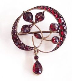 WOW Vtg Antique Victorian Real Red Garnet Brooch Pin Flower Gold Tone Jewelry | eBay