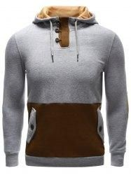 #Gamiss - #Gamiss Pocket Button Up Elbow Patch Hoodie - AdoreWe.com