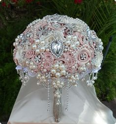 PINK BROOCH BOUQUET  Elegant Satin Rosette by Elegantweddingdecor, $425.00