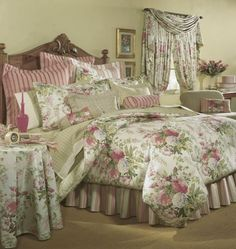 Love! Shabby Chic Bedrooms, Shabby Chic Homes, Rose Comforter, Bedding, English Cottage Interiors, Bedroom Bed, Bedroom Colors, Bed Spreads, My Room