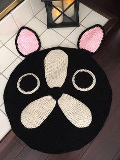 Items similar to French Bulldog/Boston Terrier Rug, Handmade Crochet Rug, Animal Rug on Etsy Crochet Rug Patterns, Crochet Beanie Pattern, Knitting Patterns, Crochet Sloth, Crochet Animals, Crochet Home, Love Crochet, Animal Rug, Childrens Rugs
