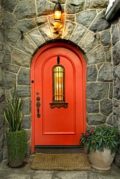 ♥♡ Mediterranean-style front door painted in a Southwest red.♥♡