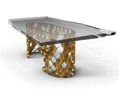 Tavolo da pranzo rettangolare in marmo KOI by BRABBU